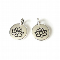 1x lotus charm, TierraCast jewellery findings for bracelets