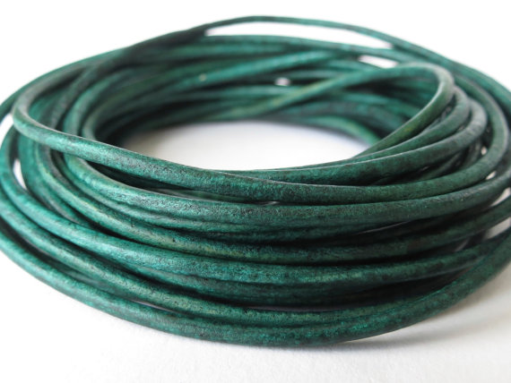 5xm distressed teal leather cord in 2mm for bracelet making