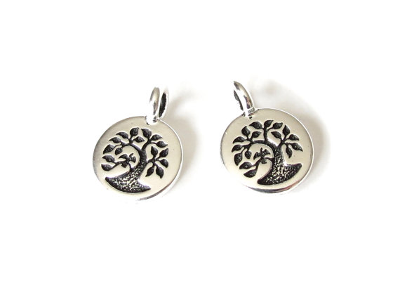 1x bird in a tree charm, TierraCast pendant for jewellery making