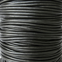 5xm metallic gunmetal leather cord in 2mm for bracelet making