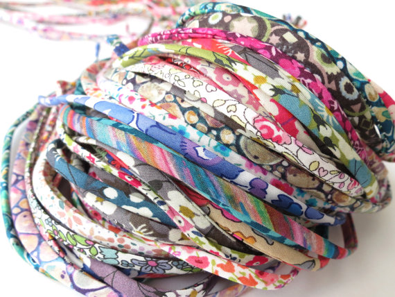 5 yards Liberty fabric spaghetti cords mixed cut-offs grab bag