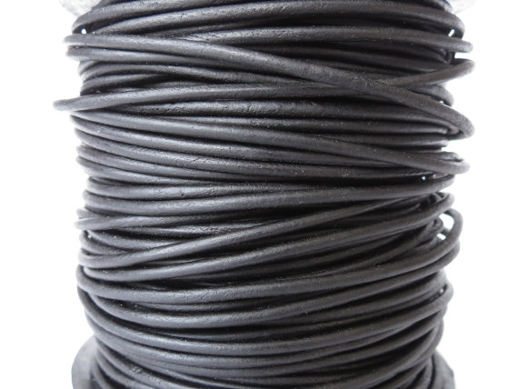 10xm leather cord in 2mm, matte black leather cord for bracelet making