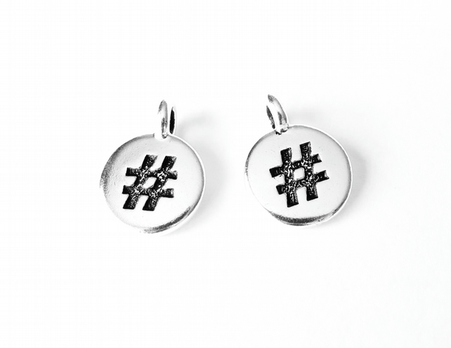 1x hashtag charm, TierraCast jewellery findings for bracelets