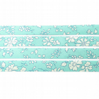 Capel T - light turquoise Liberty fabric bias binding, sewing shop