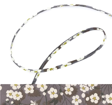 Mitsi D - grey Liberty fabric spaghetti cord, jewellery making