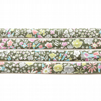 Kayoko E - green Liberty fabric bias binding, sewing supplies