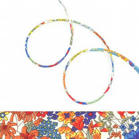 Margaret Annie A - colourful Liberty fabric spaghetti cord, jewellery making