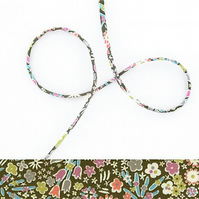 Kayoko E - Liberty fabric cord with green floral print, jewellery supplies