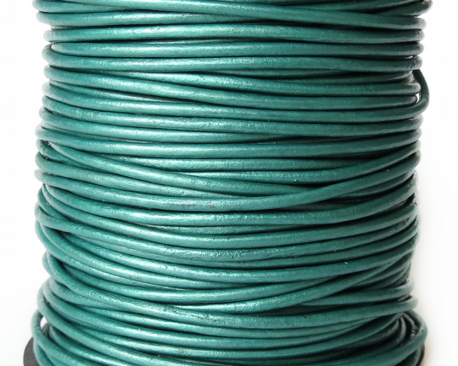 5xm metallic teal leather cord in 2mm for bracelet making