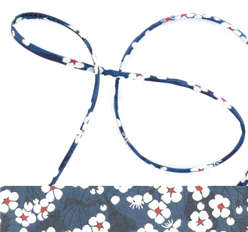 Mitsi A - dark blue Liberty fabric spaghetti cord, haberdashery supplies