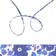 Betsy T - blue and white Liberty fabric spaghetti cord, jewellery supplies