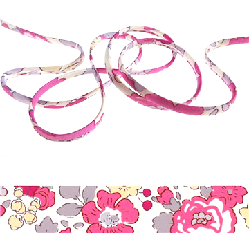 Betsy Bougainvillée - floral Liberty fabric spaghetti cord, jewellery supplies