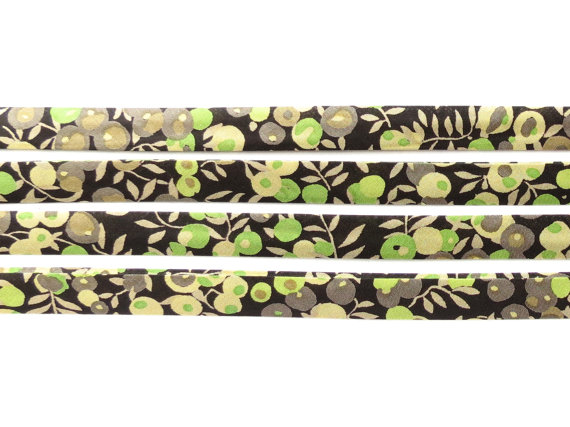 Wiltshire P - brown and green Liberty fabric bias binding