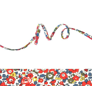 Betsy Ann Rouge Garance - floral Liberty fabric cord, jewellery supplies