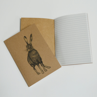 Recycled notebook - Hare illustration.
