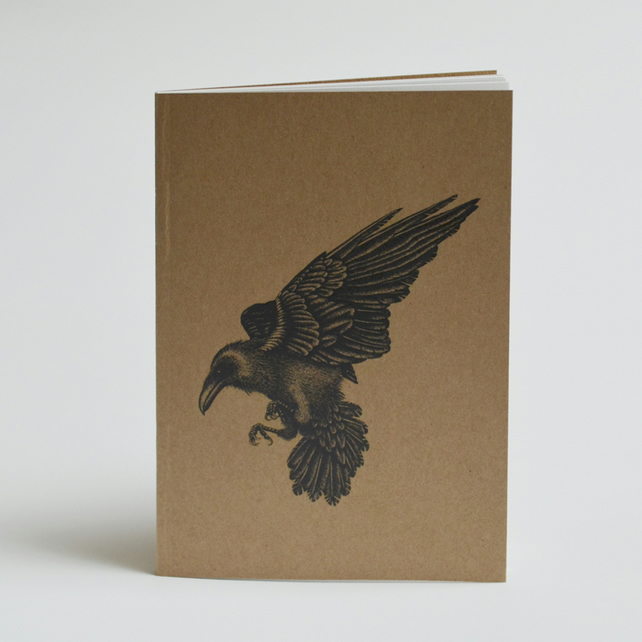 Raven illustration - Recycled notebook