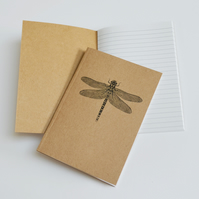 Dragonfly illustration - recycled notebook