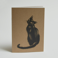 Recycled notebook - black cat illustration.