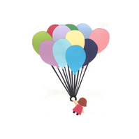 Little Girl With Balloons - Greetings Card