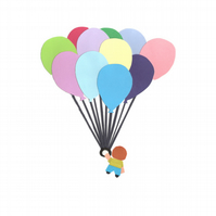 Little Boy With Balloons - Greetings Card