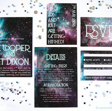 Nebula Wedding Invitation Sample - More Colours Available - Fully Customisable