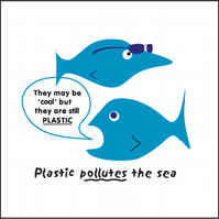 "Sea pollution design 8"" x 8"" unframed print but with backing board"