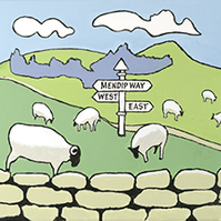 Colurful illustration of sheep in the Mendips titled Mendip Way