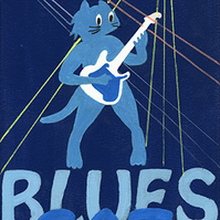 Blues Cat, Giclee print, Illustration of cat playing a guitar. Music, Musical,