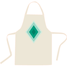 Beige Premium Cotton Apron with a Blue Diamond graphic image