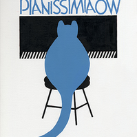 Cat plays Piano, Pianissimiaow, Giclee print, Music, Musician, Musical art
