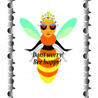 Tea Towel, with graphic Queen Bee design