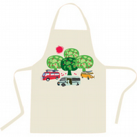 Apron with a colourful image of caravans