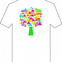 New! Men's XL T shirt with Graphic design of Festival Tree,