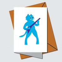 Blank card, Blues cat illustration, Cat playing Guitar