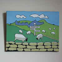Sheep on the Mendips original painting