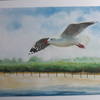 Seagull over Uphill Sands, Giclee print copy of original art Art, Decor, Home
