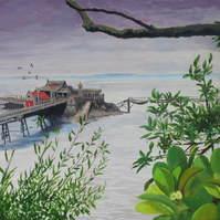 Birnbeck Pier1, Weston-Super-Mare, N.Somerset, Giclee print copy of original art