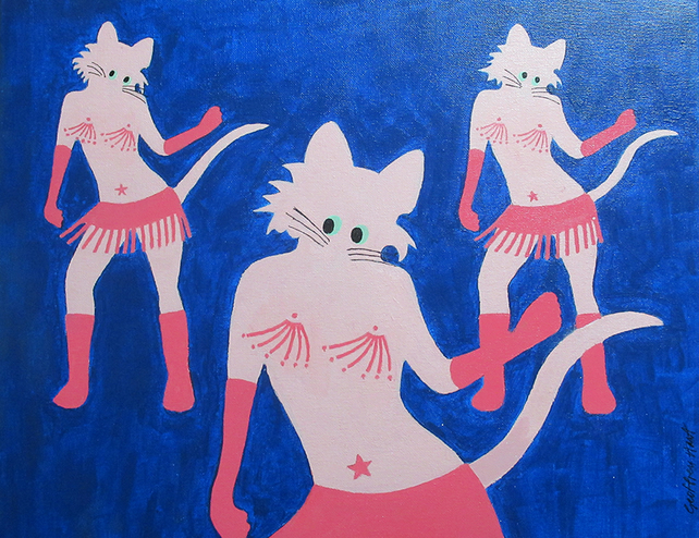Purrlesque, Dancing cats, Giclee print of original art, Music, Musician, Musical