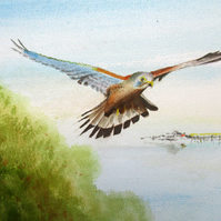 Flight Over Weston-Super-Mare, Somerset, Giclee print copy of original art, Sea