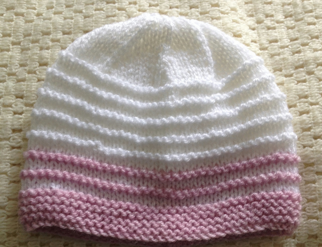 3-6 months hand knitted girls hat