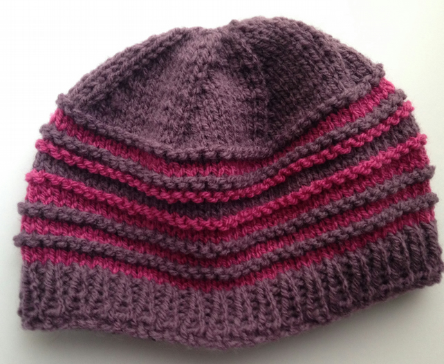 6-12 months pink & purple knitted hat SALE
