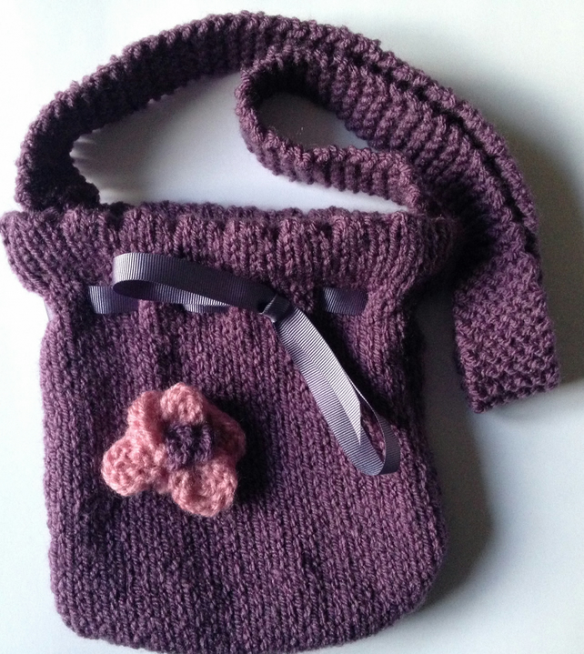 Hand knitted girls shoulder bag