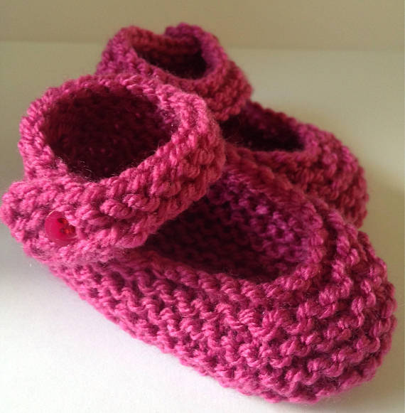 Pink hand knitted booties crib shoes