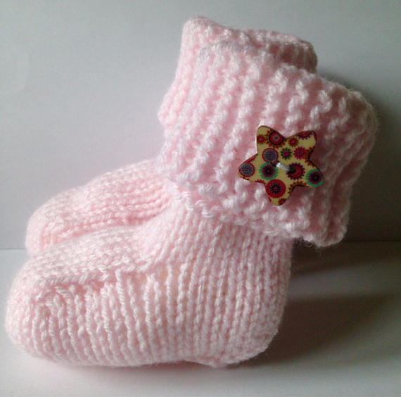 pink hand knitted ugg style booties