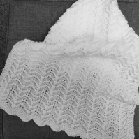 White hand knitted baby blanket for crib,moses basket,baby shower or christening