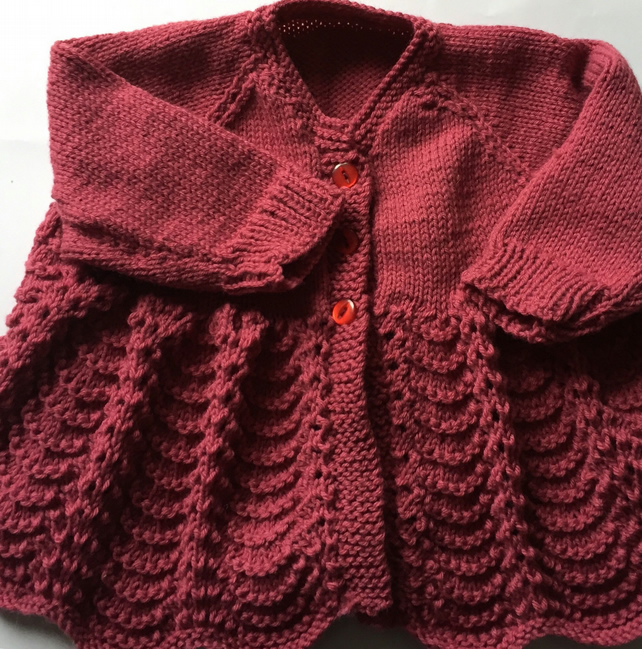0-6 months hand knitted pink cardigan