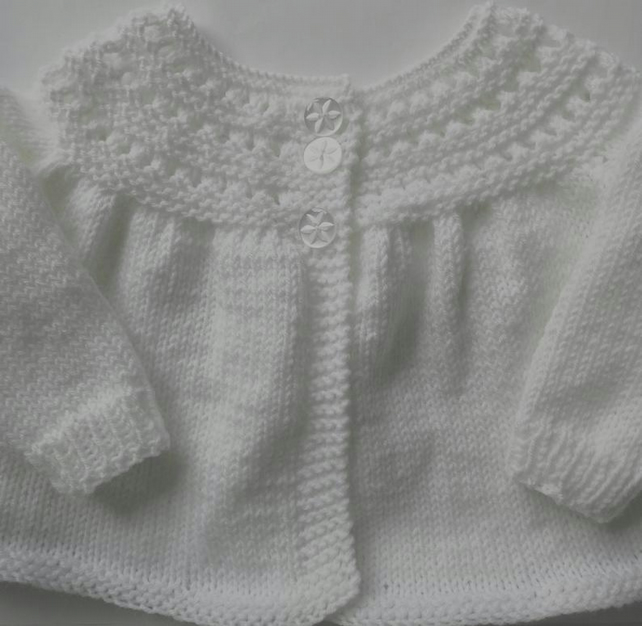 3-6 months hand knitted white baby girl cardigan