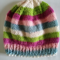 3-6 months hand knitted baby girls striped beanie hat