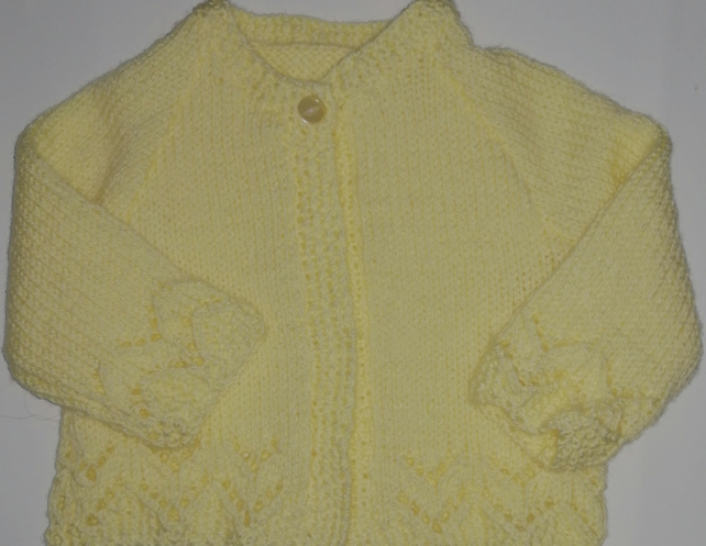 3-6 months hand knitted baby girl cardigan