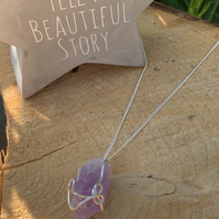 Beautiful raw sterling silver wrapped Amethyst necklace, healing necklace